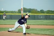 Baldwin High School junior Nate Growcock pitched early in Tuesdays game. The Bulldogs fell to Eudora, 5-4, ending their season.