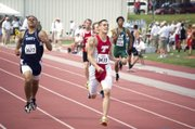 THS senior sprinter DJ Lindsay wins a state title in the Class 4A 400-meter dash with a meet record of 47.98.