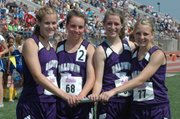 Baldwin High School's girls' 3,200-meter relay won the Class 4A state championship and broke the 2008 school record with a time of 9:39.14. Relay members are, from left, senior Connor Twombly, freshman Kaitlyn Barnes, sophomore Carol Whaley and sophomore Elizabeth Sigvaldson.