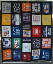 This quilt, made from T-shirts from past Relay for Life events, will be be raffled off at this year's Relay for Life, June 11. The quilt was made by the Bonner Springs United Methodist Church's sewing group, The Grateful Threads.