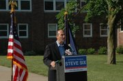 Kansas Attorney General Steve Six announced his candidacy for election to the office Thursday at Shawnee Mission North High School, the first of five stops across the state. Six was appointed to the office in 2008.