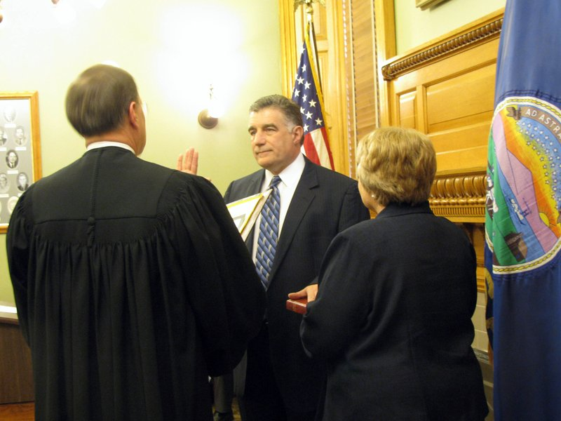 Kansas Secretary of State Chris Biggs, shown here being sworn into office earlier this year, will conduct an open house in Topeka on Thursday, and at noon that day, he'll gavel an end to this year's candidate filing period.