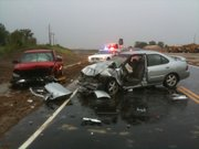 An injury accident on U.S. Highway 59 north of Baldwin Junction shutdown the highway in both directions Wednesday. At least one person was seriously injured and had to be extricated from the vehicle.