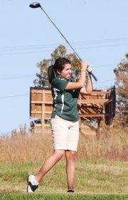 Basehor-Linwood's Samantha Espinoza watches her tee shot fly on No. 2 at Falcon Lakes during the Basehor-Linwood Invitational.