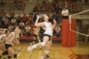 Tonganoxie High senior Danielle Miller leaps upward for a kill against Bonner Springs on Saturday afternoon at THS. The Chieftains defeated the Braves, 25-16, 25-19, in a sub-state opening round match.