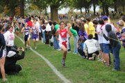 Caleb Himpel hustles to the finish line to finish 11th at a Class 4A regional meet Saturday at Wyandotte County Park. Himpel helped the Tonganoxie boys qualify for state for the first time since 2006.