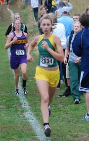 Basehor-Linwood junior Hannah Tush competes during the Class 4A regional championships. Tush qualified for the cross country state championships for the second year in a row.