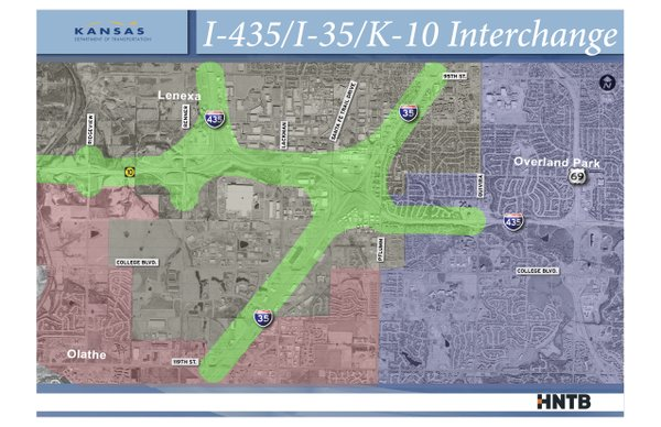 The green-shaded areas are affected by the Johnson County Gateway Project.