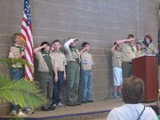 Boy Scouts present the colors before the Basehor-Linwood Middle School building dedication ceremony begins Sunday.