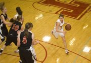 Haley Smith handles the ball near the top of the key for THS in the home team's 50-47 loss to Metro Academy on Monday.