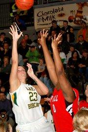Basehor-Linwood senior Megan Bergstrom puts up a fadeaway jumper during the Bobcats' 35-32 loss to Park Hill (Mo.).