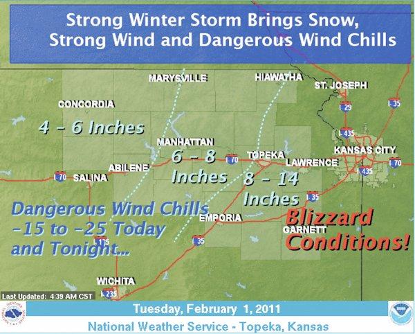 The National Weather Service has issued a blizzard warning through 6 a.m. Wednesday. Johnson, Wyandotte, Douglas and Leavenworth counties are included in the warning area.