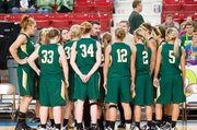 The Basehor-Linwood girls huddle during their Class 4A state tournament first-round game against Colby. The Bobcats made some defensive adjustments and rallied for a 37-28 victory.