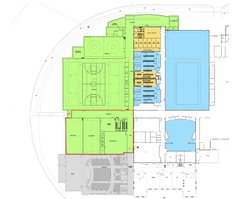 The architectural drawing of Option A for Phase II of DHS construction shows the new construction in green, existing areas that will receive major renovations in yellow and exisiting areas that will receive minor renovations in blue. The red lines outline the area selected to be a Federal Emergency Management Agency shelter, pending grant allocation.