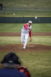 THS starting pitcher AJ Gilbert throws a pitch Thursday against Basehor-Linwood. The Chieftains were swept in a home doubleheader.