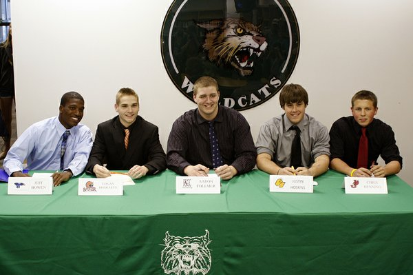 Five De Soto High School seniors signed letters of intent to play football for five different colleges on Wednesday, April 6. From left to right, they were Jeff Bowen, Logan DeGraeve, Aaron Follmer, Justin Hoskins and Chris Henning.