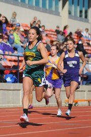 Basehor-Linwood junior Dakkota Edmonds races down the home stretch at the Baldwin Invitational. Edmonds placed second in the 200-meter dash and third in the 100-meter dash.
