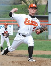 Bonner Springs senior Dalton Vitt pitched six scoreless innings during the Braves' 6-0 victory against Eudora.