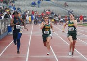 Basehor-Linwood junior Dakkota Edmonds charges toward the finish line during the 100-meter dash prelims Friday, April 22, 2011, at Memorial Stadium at Kansas University.