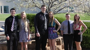 Candidates for Prom King and Queen were nominated by the senior class at De Soto High School and will be voted on at the dance on Saturday, April 30. The senior candidates, from left to right, are: Kyle McCulloch and Lacey Erickson; Aaron Follmer and Katie Gorman and Billy Burford and Hilary Schmidt. Photo courtesy of the DHS Green Pride.
