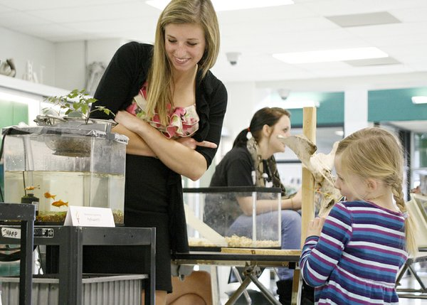 Taylor Sharp, 5, helps DHS senior Hilary Schmidt name the fish in her aquaponics project for her biotechnical engineering class. Sharp, the daughter of DHS teacher Scott Sharp, named one fish after herself. The waste from the the fish in the tank is cycled through a series of tubes and fertilizes the tomato plants growing in pebbles above the tank.