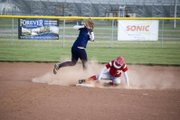 Tonganoxie High base runner Marrissa Martin successfully steals second in the bottom of the fourth inning of Game 1 against Pleasant Ridge on Monday. The Chieftains swept the Rams,  with wins of 18-4 and 15-4.