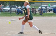 Shelby Pierce fires a pitch during Basehor-Linwood's 12-2 victory against Turner on Wednesday. The Bobcats swept the doubleheader and improved to 14-6.