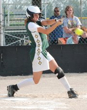 Basehor-Linwood's Hannah Tush makes solid contact for a hit during the Bobcats' doubleheader sweep of Turner.