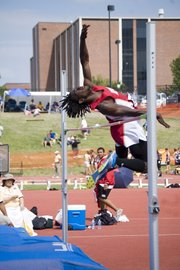 Tying a personal record with a mark of 6 feet, 4 inches in the high jump Friday at the state track meet in Wichita, Tonganoxie High senior Adrian Whittington tied for fourth place.