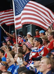 Fans of the United States Men&#39;s National Team sport plenty of red, white and blue for Team USA&#39;s Gold Cup game against Guadeloupe on Tuesday, June 14, 2011, at LIVESTRONG Sporting Park.