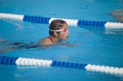Samantha Koch (12 and under) swam for two placing relay teams on Friday during the Tidal Waves' home dual with Turner.