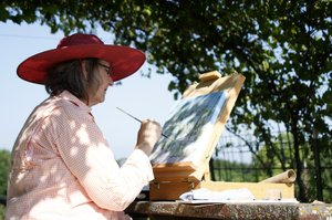 "Carol Rudsam of Olathe paints leaves on her grape vines during the plein air painting event as part of the Sunflower ArtFest on Friday, July 8. Rudsam and other artists will spend the morning creating works of art before the festival opens to the public at 6 p.m. ""This is my first time painting outside like this, Rudsam said. ""I'm looking at this as a way to stretch myself and my painting."""
