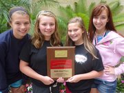Tonganoxie FCCLA members at the middle school level won the National Community Service Award. Pictured are Kennedy Morey, Brooke Bolon, Emma DeMaranville and Haley Arevalo.