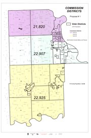 This map shows Proposal 1 from Leavenworth County staff for new county commissioner districts. All three commissioners said they favored this map over the other proposals, though they would welcome input from residents.