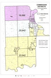 This map, courtesy of the Leavenworth County GIS department, shows the current county commissioner district boundaries, with population figures from the 2010 Census. 
