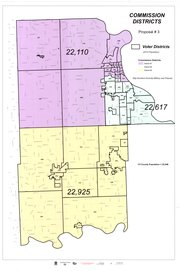 Leavenworth County staff&#39;s Proposal 3 for county commission redistricting, County Clerk Janet Klasinski said, would be the most radical change of any of the proposals. It would split most of the county&#39;s unincorporated areas between districts 1 and 3, leaving Lansing, Delaware Township and much of Leavenworth in District 2. Population figures are based on the 2010 Census.