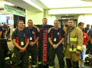 Firefighters from the Tonganoxie and Reno Township fire departments also participated in the Kansas City 9/11 Memorial Stair Climb. They were, from left to right, Chris McClendon, of the Tonganoxie and Reno departments; John Seymour, of Tonganoxie; David Mellen, of Tonganoxie and Reno; Darren Shepherd, of Tonganoxie and Reno; and Bobby Harris, of Reno. Not pictured is Jacob DeMaranville of the Tonganoxie department, who also participated.
