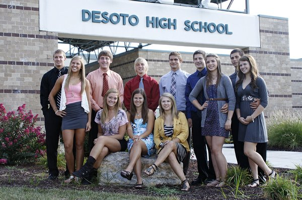 The 2011 De Soto High School Homecoming royalty candidates and court members pose for a group photo in front of the school on Tuesday, Sept. 13. The king and queen will be voted on by the entire student body throughout the week and announced during halftime of the football game this Friday, Sept. 23.