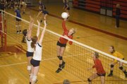Tonganoxie High senior Brooklyn Kerbaugh spikes the ball against Olathe East Saturday at the Tonganoxie Invitational. The Chieftains finished 4-2 at their annual home tournament and finished third.