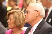Former Baker University President Dan Lambert and his wife, Carolyn, were in attendance during groundbreaking ceremonies on Friday, Oct 7, 2011, at Baker University for a new addition to Mulvane Hall.