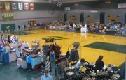 Exhibitors display their crafts for sale in the gymnasium at Basehor-Linwood High School on Saturday, Nov. 5.