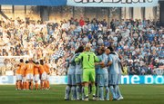 Sporting Kansas City huddles prior to kickoff of the Eastern Conference Championship match against the Houston Dynamo.
