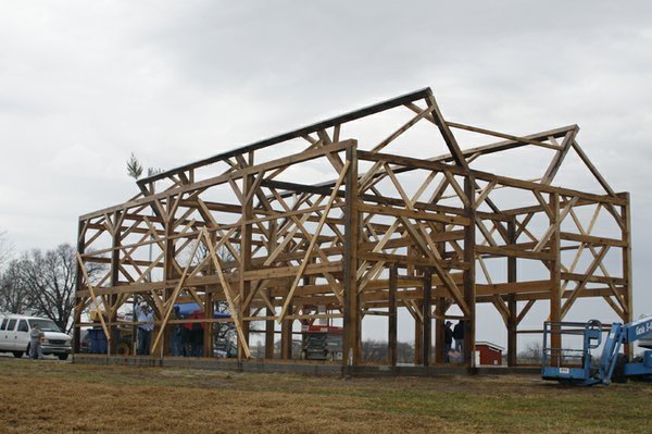The frame for the new barn at Kill Creek Farm went up in less than a week thanks to the hard work of a handful of workers and volunteers. According to members of the new Barn at Kill Creek Farm Association, who will manage the barn as part of a 501(c)3 not for profit, a roof will be added to the structure as soon as the weather allows.