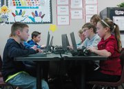Riverview Elementary School fifth-graders edit podcasts they recording during a Pearson Learning Foundation lesson plan. The Washington, D.C.-based foundation visited Riverview from Dec. 12 to Dec. 14 to help introduce a lesson plan using digital media.