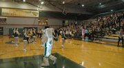 The Basehor-Linwood High School cheerleaders and the Bobcat mascot pump up the crowd before the broadcast begins.