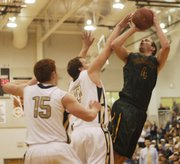 Basehor-Linwood senior Colin Murphy finished with 24 points in the Bobcats' 58-50 sub-state victory agaisnt Topeka Hayden in Bonner Springs on Saturday.
