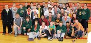 The Basehor-Linwood boys powerlifting team celebrates its third-straight state title after winning the Class 4A state tournament in Abilene on Saturday.