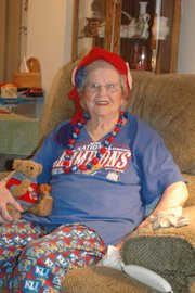 Florence &quot;Pudd&quot; Wasson may be the biggest KU basketball fan in Bonner Springs. She says when the Jayhawks are losing, she puts on her lucky KU hat, and that seems to help them start winning.