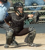 Taylor Pope gets in position behind the plate.