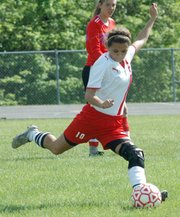 Shyanne Gergick winds up for a kick.